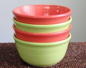 Cereal Bowls in Watermelon and Lime Green - Set of 4 Pottery Soup Bowls
