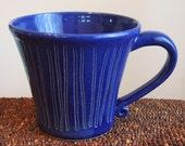 Large Cobalt Blue Pottery Mug 16 oz. Ceramic Stoneware Manly Cup