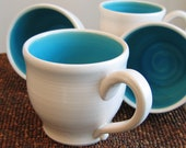 Turquoise Blue Mugs 14 oz. Set of 4 Pottery Mugs