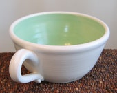Large Soup Mug in Green Aqua 16 oz. Ceramic Mug - Stoneware Pottery Coffee Cup