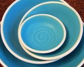 Turquoise Nesting Bowls - Large Set of Stoneware Pottery Serving Bowls
