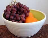 Large Lime Green Pottery Salad Bowl - Stoneware Ceramic Fruit Bowl