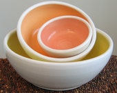 Summer Fruits Nesting Bowls - Set of Stoneware Pottery Bowls
