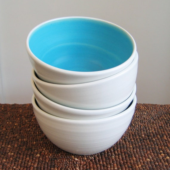 Set of 4 Turquoise Soup Bowls