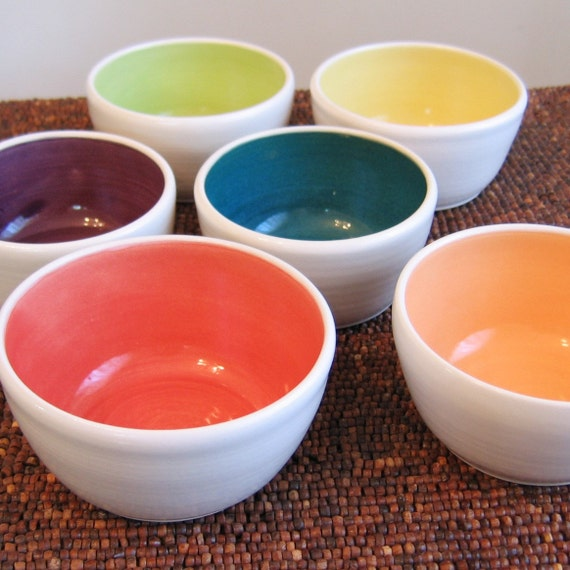 Set of 6 Small Rainbow Bowls