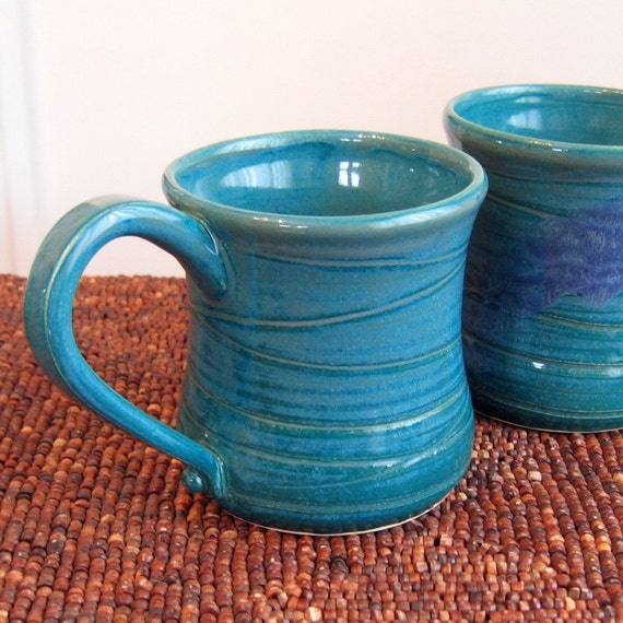 Manly Pottery Mug Set In Peacock Blue 12 oz. Stoneware Ceramic Coffee Mugs