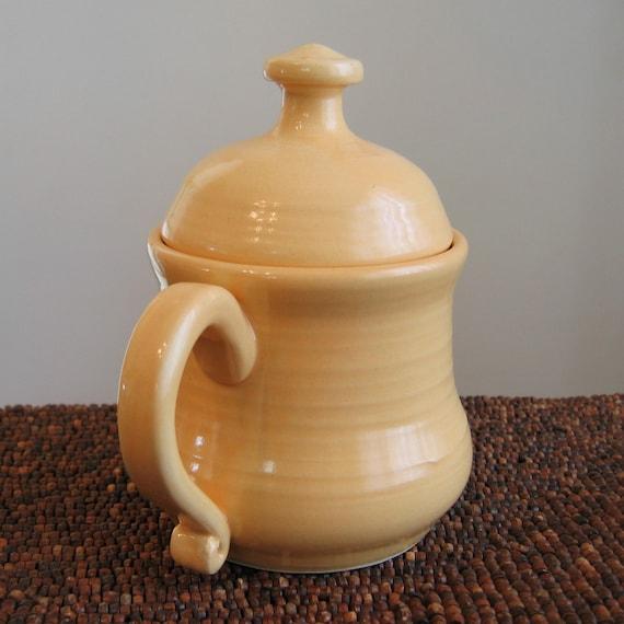 Tea Steeping Pottery Mug - Sunflower Yellow Mug with Lid 12 oz. Ceramic Coffee Cup