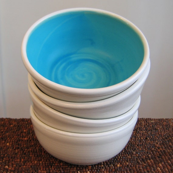 Turquoise Blue Soup / Cereal Bowls - Set of 4