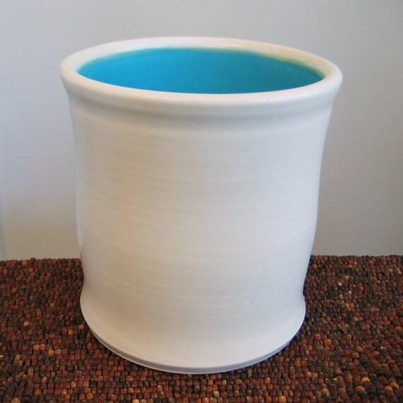 Ceramic Utensil Crock In Turquoise Blue - Stoneware Pottery Utensil Holder