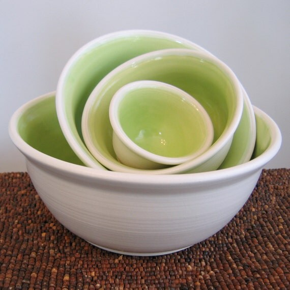 Stoneware Pottery Nesting Bowls -  Large Set Lime Green Ceramic