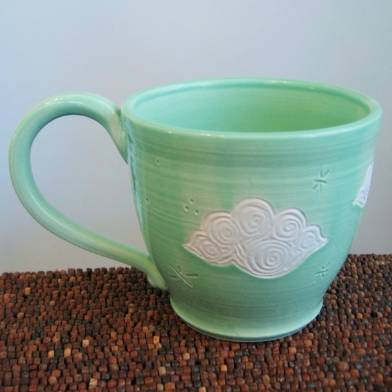 Fluffy Cloud Mug 14 oz. Stoneware Pottery Mug - Ceramic Coffee Cup