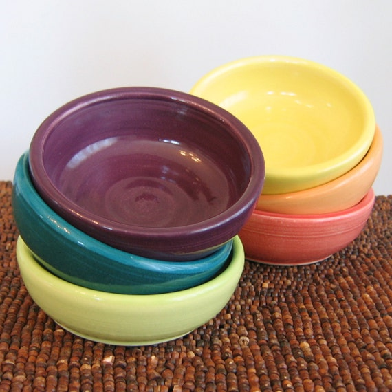 Rainbow Pottery Bowls - Set of 6 Stoneware  Ceramic Prep Bowls