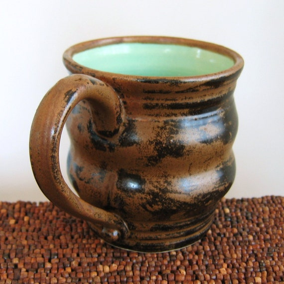 Pottery Mug in Mint Cocoa Stoneware Ceramic Coffee Mug