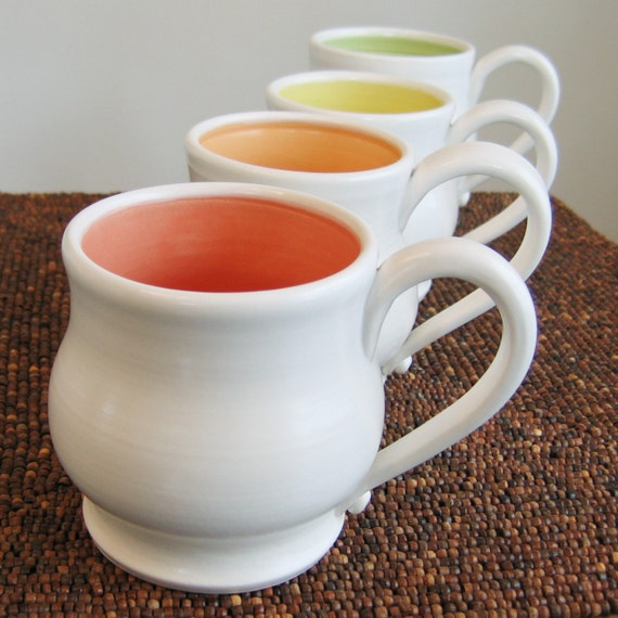 Pottery Mugs in Summer Fruit Colors - Set of Four Stoneware Coffee Mugs