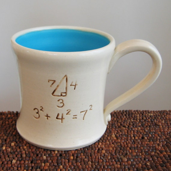 Incorrect Math Mug in Turquoise 14 oz. Teacher Pottery Coffee Mug