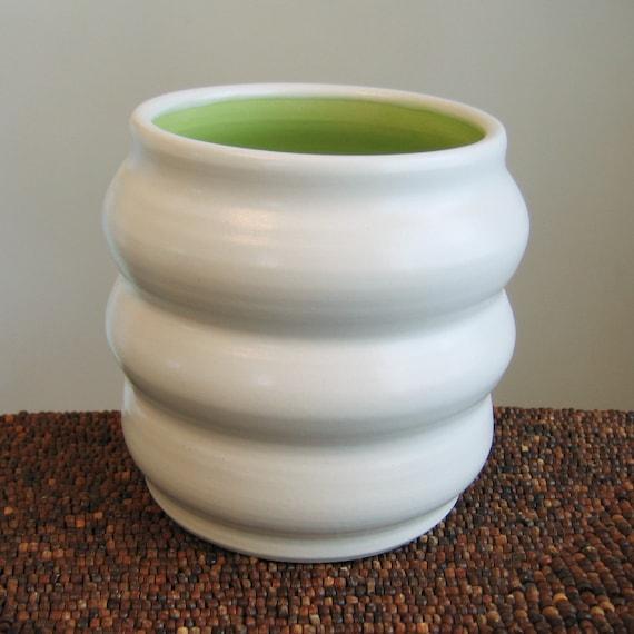 Beehive Utensil Crock - Lime Green Ceramic Utensil Holder - Stoneware Pottery
