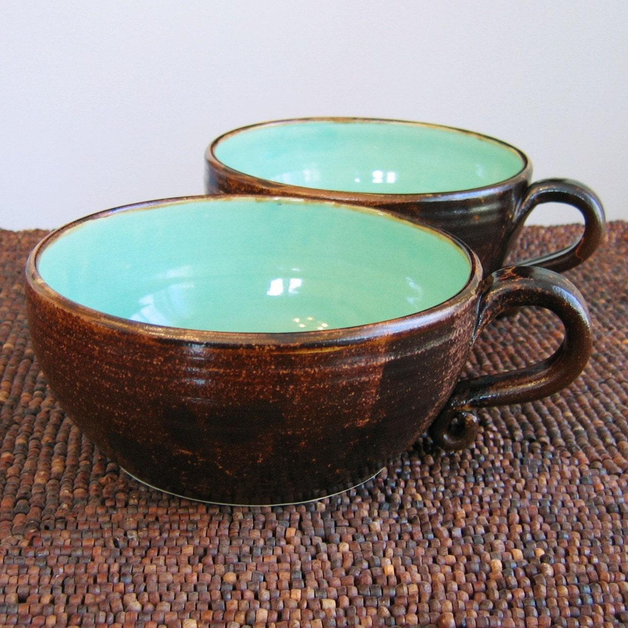 Set of 2 huge earthy soup mugs 20 oz for Natural stone coffee mugs