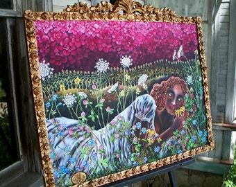 Wildflower Goddess Canvas Giclee in an Ornate Antique Frame From an Original Oil Painting by Dee Sprague