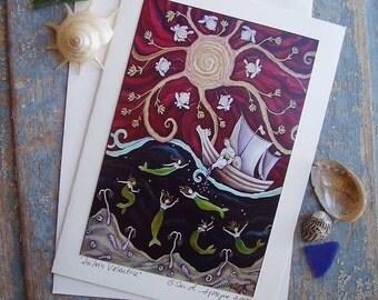 Folk Art Sailors Valentine     Every Day Love Greeting Card       Art by DEE