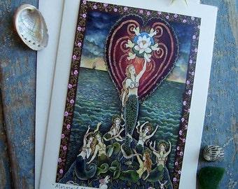 Mermaid Messenger Keepsake Greeting Card ACEO by Dee Sprague