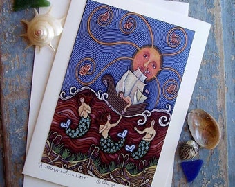 FOLK ART SAILORS VALENTINE LOVE GREETING CARD by DEE SPRAGUE