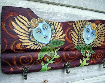 Folk Art HAND PAINTED Garden ANGEL Coat Rack UpCycled