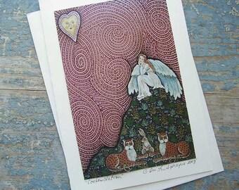 Cotemplation  Folk Art Angel  Keepsake Greeting Card  by DEE SPRAGUE