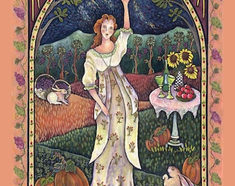 Wine Harvest Maiden Print 8 by 10 from an Original Oil Painting by Dee Sprague