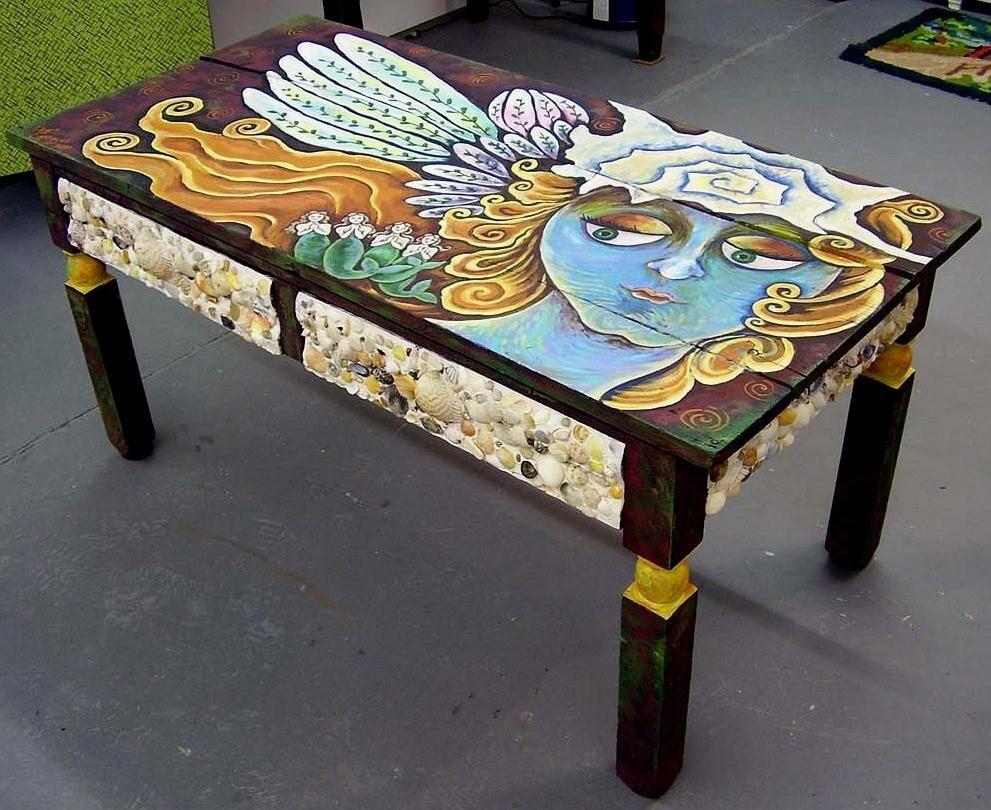 Made To Order Funky Folk Angel Art Coffee Table by Dee Sprague