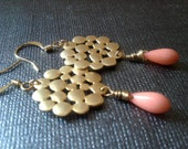 Gold bubbles and coral drop earrings