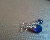 London Blue Quartz Glass Wire Wrapped Earrings