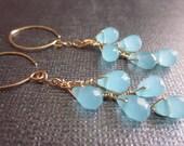 Free Shipping-Peruvian Opal Quartz Glass Earrings