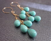 Free Shipping-Opaque Turquoise and Gold Briolette Earrings