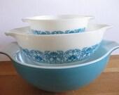 Vintage Horizon Blue Art Deco Pyrex Cinderella Mixing Bowls Set of 3