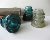 Vintage Dark Aqua and Gray Remingray and Armstrong Electrical Insulators
