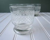 Vintage Etched Bar Glasses Set of Four - Retro
