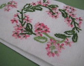 Vintage Pink and Green Floral Embroidered Tea Towel