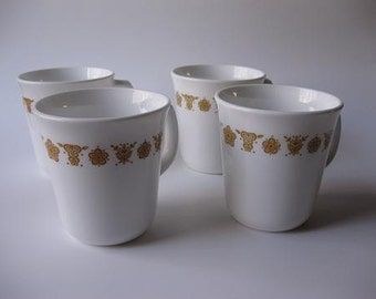 Vintage Butterfly Gold Corning Coffee Cups Set of Four