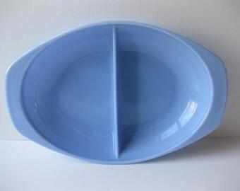 Vintage Pyrex Delphite Bluebelle Cinderella Oval Divided Serving Dish