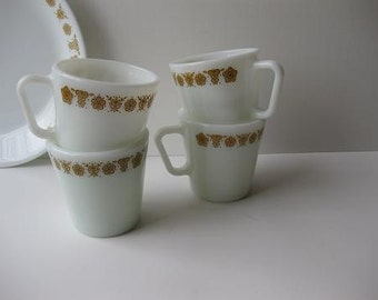 Vintage Pyrex Butterfly Gold Coffee Cups Mugs Set of Four