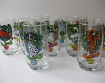 Vintage Anchor Hocking Eleven Days of Christmas Tumblers