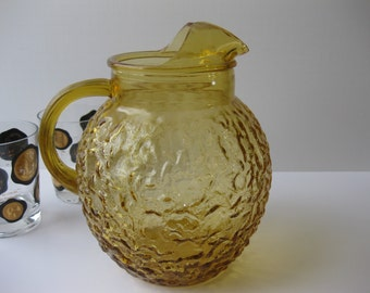 Vintage Anchor Hocking Lido Honey Gold Large Pitcher
