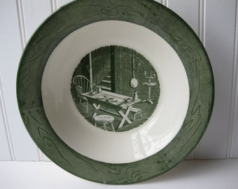 Vintage Royal Colonial Homestead 1950s Green White Serving Bowl