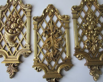 Syroco Gold 1970s Retro Wall Hangings Set of Three - Vintage Chic