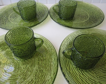 Vintage Anchor Hocking Soreno Avocado Green Snack Set for Four