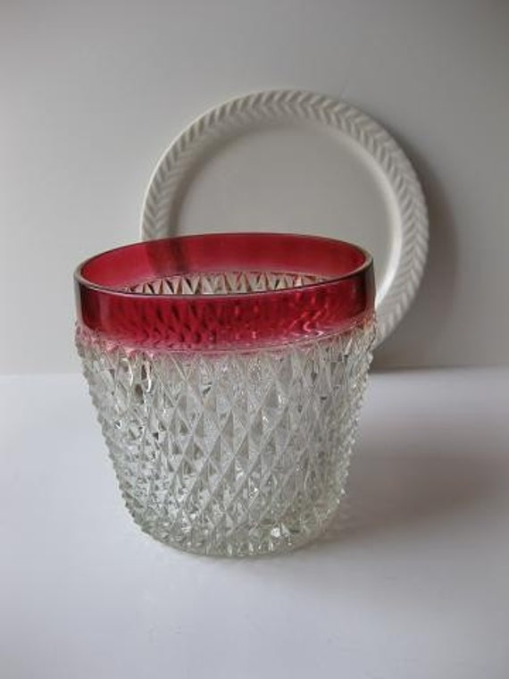 Vintage Diamond Point Ruby Ice Bucket by Indiana Glass Co