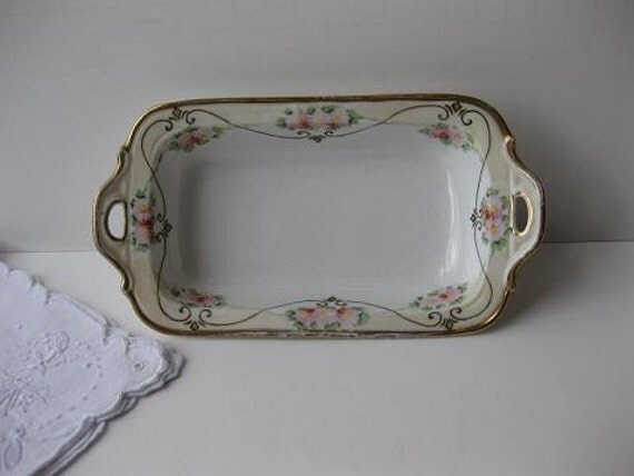 Pretty Little Vintage Handpainted Pink Green and Gold Dish