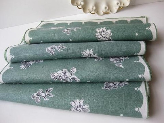 Vintage Teal Green Black and Cream Linen Placemats Set of Four