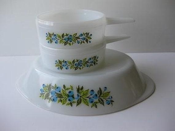Sale Vintage Glasbake Fresh Blueberry Blue and Green Bakeware Set of Three