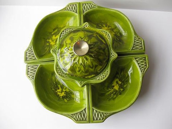 Sale Vintage Avocado Green and Yellow Retro Calif Orig Ceramic Lazy Susan Set
